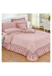 Kit Edredom Estampa Silk Casal Queen 7 Pçs Percal 140 Fios Rosa