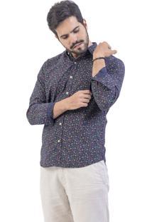 Camisa Won Oficial Ml Voil Floral Azul