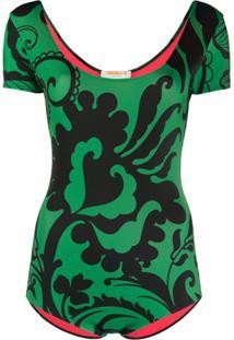 La Doublej Body Com Estampa Floral - Verde