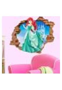 Adesivo De Parede Buraco Falso 3D Princesa Ariel 05 - P 45X55Cm
