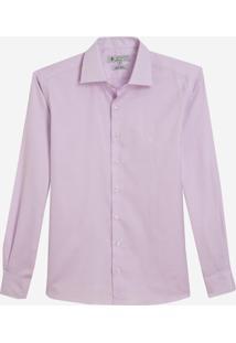 Camisa Dudalina Manga Longa Luxury Fio Tinto Maquinetado Masculina (Rosa Claro, 44)
