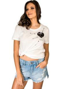 Camiseta Coração Bordado Colcci - Feminino-Off White