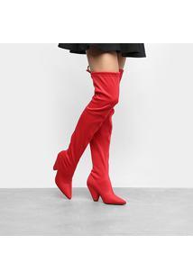 Bota Meia Over The Knee Zatz Strech Salto Cone Feminina - Feminino-Vermelho