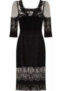 Dolce & Gabbana Vestido Decote Quadrado Com Recorte De Renda - Preto