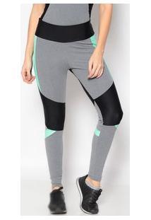 Body For Sure Legging Com Recortes Cinza & Verde Claro