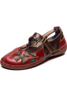 Sapatilha Feminina Vermelha Amora / Chocolate / Esmeralda - Acai 458 - Kanui
