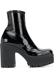 Miu Miu Ankle Boot Com Plataforma - Preto