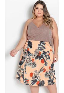 Vestido Midi Floral E Listra Com Alças Plus Size
