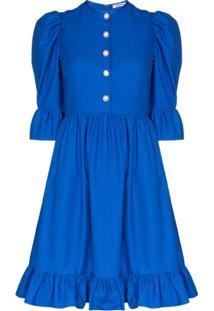 Batsheva Vestido Prairi Com Babados - Azul