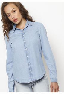 cfe52e2a79 ... Camisa Jeans Estonada- Azul Claro- Folhahering