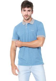 Camisa Polo Wrangler Reta Listrada Azul/Cinza