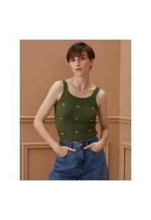 Amaro Feminino Blusa De Tricot Com Flores Bordadas, Verde Militar