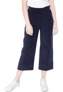Calça Calvin Klein Pantacourt Veludo Azul-Marinho