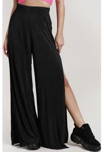 Calça Feminina Pantalona Acetinada Com Fenda Preta