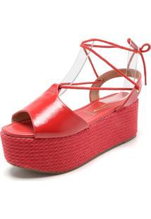Sandália Flatform Vizzano Amarração Vermelha