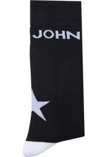 Meia John John Star Black Preto Masculina (Preto, Un)
