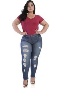 Calça Jeans Sawary Plus Size 264202 Feminina - Feminino-Azul