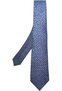 Lanvin Gravata De Seda Com Estampa Zig Zag - Azul