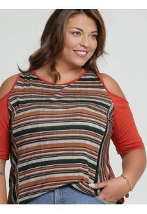 Blusa Feminina Open Shoulder Listrada Plus Size