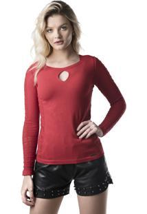 Blusa Modal Jéssi Malhas Tricô Com Detalhes Rendados Vermelha