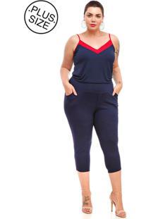 Calça Melinde Plus Size Capri Conforto Azul Marinho. - Kanui