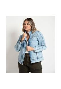 Jaqueta Jeans Sem Estampa Curve & Plus Size Azul