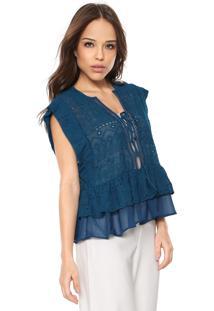 Blusa Colcci Detalhe Renda Azul