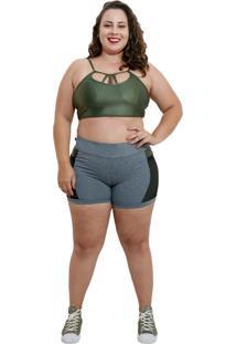 Shorts Fitness Life Corpusfit Com Bolso Em Arrastão Plus Size - Cinza Mescla E Verde - Kanui