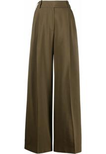 Alexandre Vauthier Calça Pantalona Cintura Alta - Verde