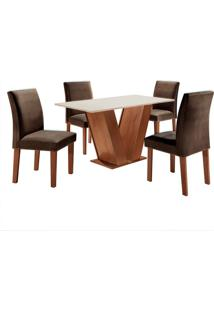 Conjunto De Mesa De Jantar Com 4 Cadeiras Classic Lv Suede Off White E Marrom