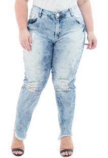 Calça Jeans Confidencial Extra Plus Size Cropped Destroyed Feminina - Feminino-Azul Claro