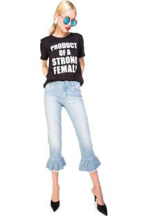 Calça Jeans Cropped Babados