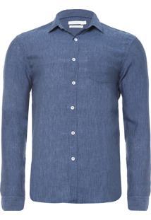 Camisa Masculina Linho Paraíso - Azul