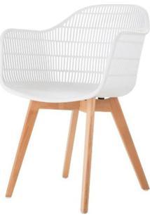 Cadeira Com Bracos Angelita Branca Pes Madeira - 50047 Sun House
