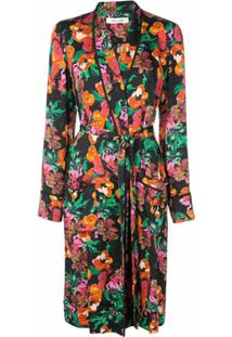 Dvf Diane Von Furstenberg Trench Coat Com Estampa Floral - Preto