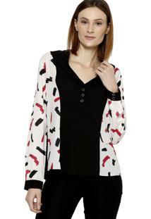 Camisa Manga Longa Plano Energia Fashion Preto/Branco/Vermelho