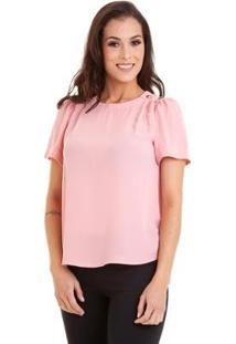 Blusa Manguinha Kinara Com Botões No Ombro Feminina - Feminino-Rosa