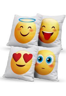 Kit 4 Capas De Almofadas Decorativas Own Emoji 45X45 - Somente Capa