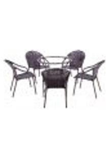 Conjunto Mesa Alta Sem Tampo E 5 Cadeiras Para Área Edicula Jardim Biquini Ferro E Fibra Tabaco
