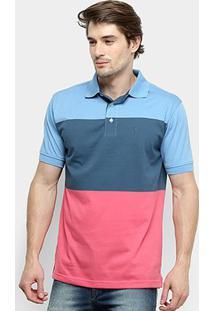 Camisa Polo Aleatory Listrada Masculina - Masculino-Azul Royal+Azul
