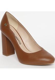 0f1da2fe36 ... Sapato Tradicional Em Couro Com Tag- Marrom- Salto  Loucos E Santos