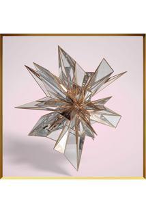 Quadro Decorativo Flor De Cristais- Dourado & Rosa Claroarte Prã³Pria