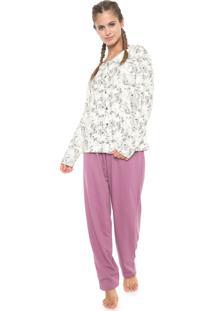 Pijama Pzama Botões Off-White/Lilás