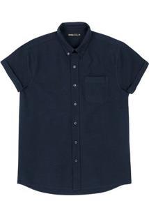 Camisa Básica Masculina Em Tecido De Algodão Encorpado Com Mangas Dobradas