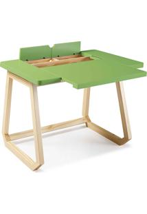 Escrivaninha Para Quarto Madeira Maciça Hush 94X77,5X73,5Cm - Taeda E Cor Verde Claro