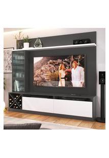 """Painel Home Para Tv 60"""" Com 3 Portas Grafite E Branco Lilies Móveis"""