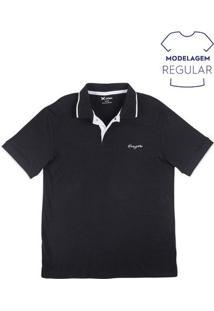 Camisa Polo Básica Masculina Com Bordado E Cor Contrastante