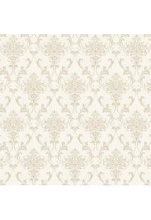 Papel De Parede Arabescos- Off White & Bege- 1000X52Shark Metais