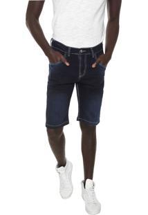 Bermuda Jeans Local Reta Pespontos Azul-Marinho