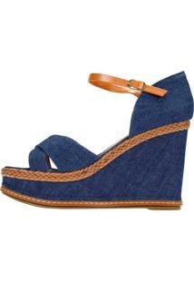 Sandália Amoha Plataforma Jeans Corda Azul
